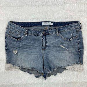 Torrid Womens Jean Shorts Size 24 Cut-Off Distressed Lace Trim Denim